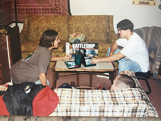 John Lazenby and his roomate play battleship